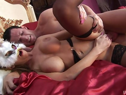 Busty milf fucked hard with the mask on