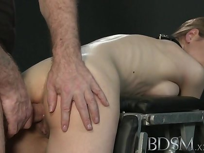BDSM XXX Big breasted sub gets changeless anal
