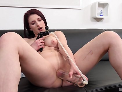 Dominate doll films herself during her first pussy vet tryout