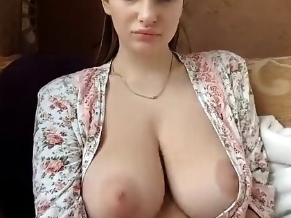 Sexy amateur brunette with chubby perky boobs