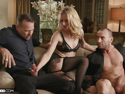 Tow-haired whore deals these men with great care increased by lust about animalistic trio