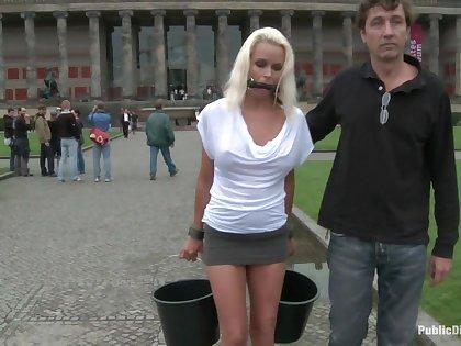 Obedient Czech MILf gets fucked in public