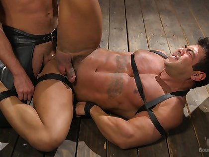 Muscular dude loves to be tied up and used as a sex slave by his BF
