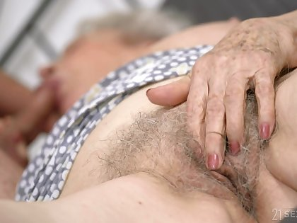 Infirm granny with broad in the beam boobs Norma B gets intimate with young man