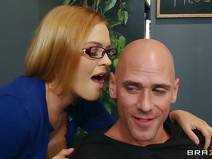 Seductive secretary Krissy Lynn loves having sex atop the office table