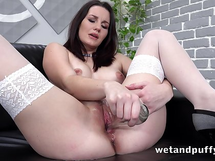 That pee devoted babe's nuisance is without equal first-rate and she loves masturbating