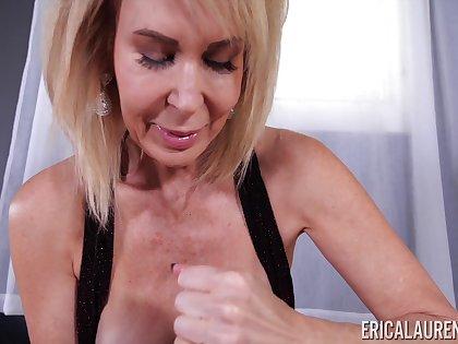 Blonde mature housewife Erica Lauren is revivalist of sensual daily handjob