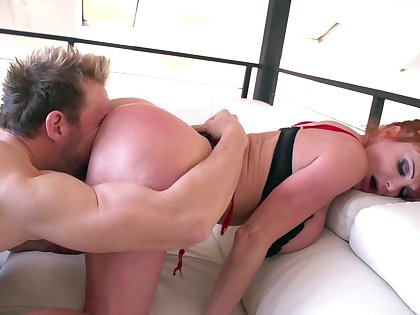 Curvy mature with huge tits, grotesque couch sex and cum on boobs