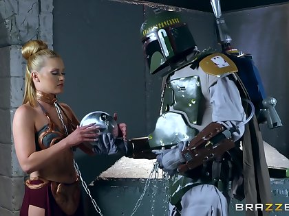 Storm Trooper has a blast with leashed blondie Abby Cross