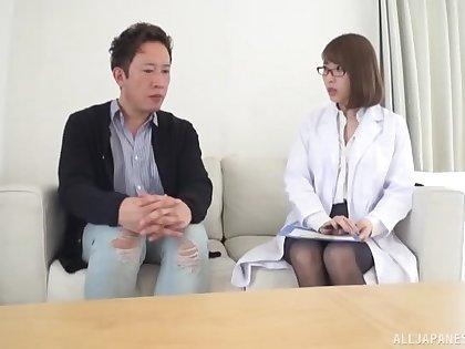 Stunning Japanese doctor takes off her uniform around have wild sex