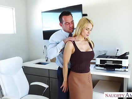 Young secretary Sarah Vandella turned at large to be an anal insane shrew