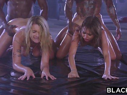 Gabbie Carter & Riley Reid nearly interracial orgy